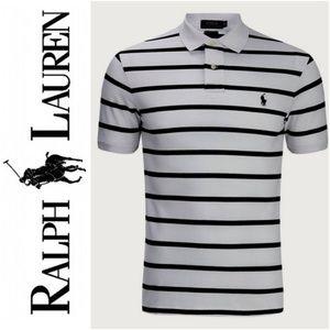 Polo Ralph Lauren Vintage Gray Navy Stripe Collar